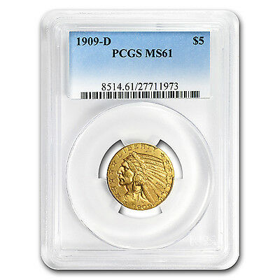$5 Indian Gold Half Eagle Coin - Random Year - MS-61 PCGS - SKU #22153