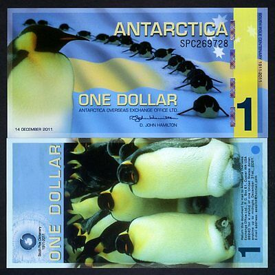 Antarctica, $1, 2011, Polymer -  Commemorative, Penguins