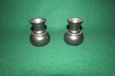 Prinknash Pottery Pewter in Colour Pair of Small Vases Lot 2