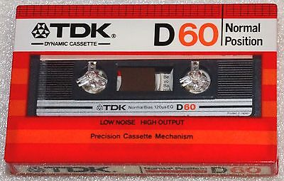 TDK D 60 1982 SEALED BLANK AUDIO COMPACT CASSETTE TAPE