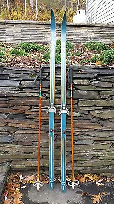 """VINTAGE HICKORY Wooden 71"""" Skis Has GREEN Finish + Bamboo Poles"""