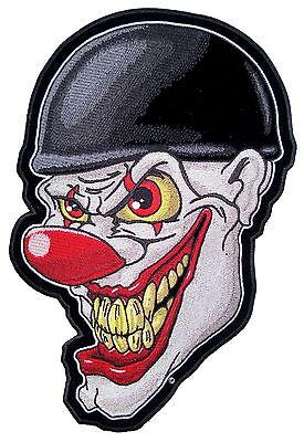 Large Crazy Evil Clown Face Wearing Turtle Shell Helmet Embroidered Biker Patch