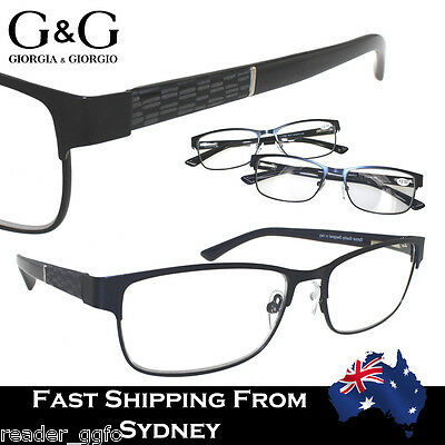 Men's Full Frame Magnifying Reading Glasses Matt Finish Spring Loaded  +1.0~3.5