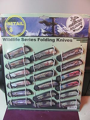 AMERICAN WILDLIFE SERIES FOLDING KNIVES BY FROST CUTLERY 18pc FREE US SHIPPING!