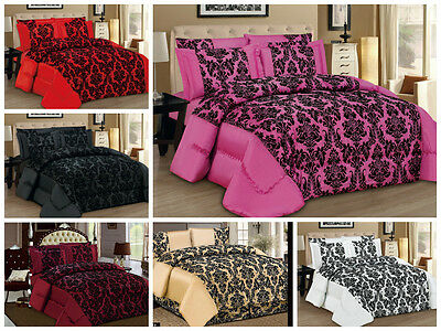 3 Piece Luxury Damask Flock Comforter Set; Bedspread & 2 Pillowcases, Bedroom
