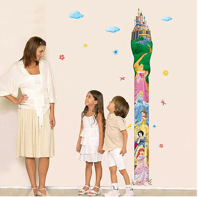Wall stickers Disney Princess growup chart height Quote PVC Decor Decals kids