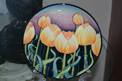 """Old Tupton Ware 6"""" Tubelined Plate 'TULIPS' With Stand BOXED"""
