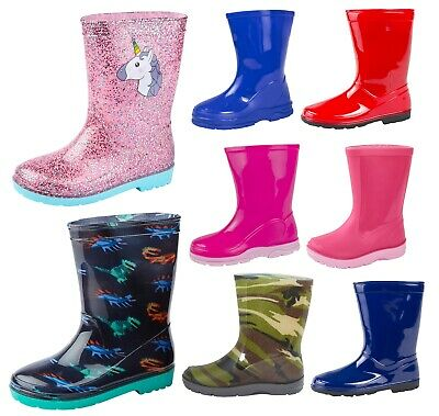 Girls Boys Mid Calf Rain Snow Boots Rain Wellies Wellingtons Wellys Winter Size