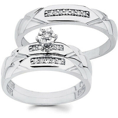 10k White Gold 1/6ct TDW His and Her Wedding Ring Trio Set (H-I, I1)