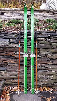 """VINTAGE HICKORY Wooden 70"""" Skis Has GREEN  Finish GLIDERS + Bamboo Poles"""