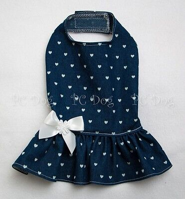 S New Denim and Hearts Jean Dog dress clothes pet apparel Clothing Small