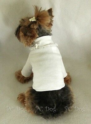 XS Lace Trimmed White Dog Turtleneck Shirt clothes pet apparel Clothing