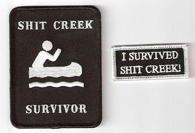 I Survived Shit Creek. Iron On Patch Badge.combo Pack. Funny Aussie Slang