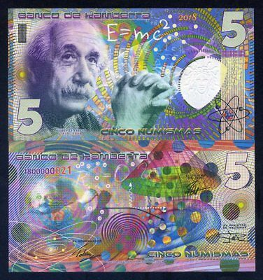Kamberra, 5 Numismas, 2016, UNC Einstein, New issue, Completely redesigned