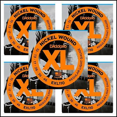 5 sets D'Addario EXL110 Nickel Wound Light Electric Guitar Strings 10 - 46 XL110