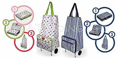 Fold Away Shopping Trolley Bag With Wheels Durable & Lightweight Folding
