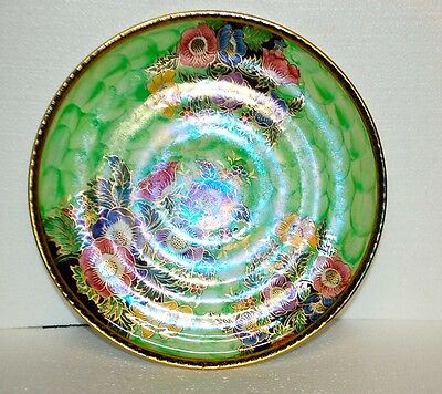 "SUPERB LARGE MALING LUSTRE GREEN ANEMONE CHARGER 11.5"" ART DECO WALL PLAQUE"