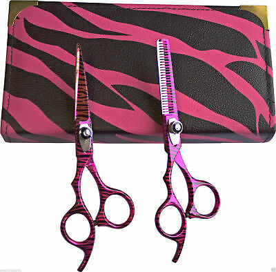 "Left Handed Hairdressing Barber Scissors, Thinning Scissors Set, 5.5"" Pink Zebra"