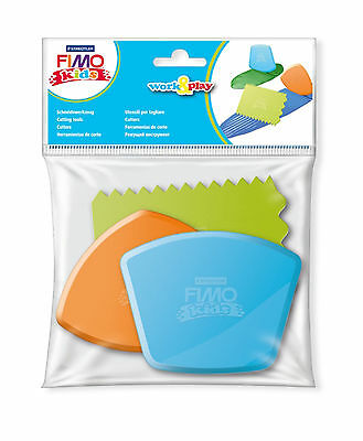 Fimo Kids Work & Play 3 Plastic Cutting Tools 870034 For Modelling Moulding Clay