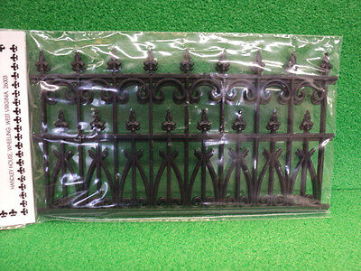 Dollhouse Ornate Fence/ Black/ Plastic/ (2)In Pack