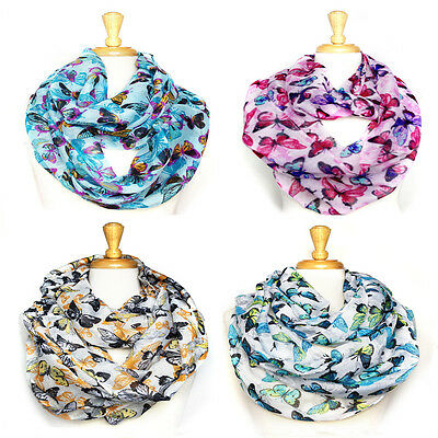 USWholesaler-12PC-AssortedColor-Butterfly pattern large infinity scarves #6045