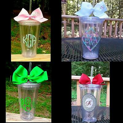 Perfect Gift!! Lilly Print Inspired/Chevron Initial Sorority 16 oz.Tumbler Cup