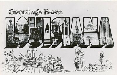 LA * Greetings From Louisiana LARGE LETTER Post Card RPPC ca. 1950s