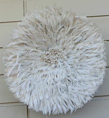 Juju Feather Hat, White, Cameroon, Beautiful High Quality 70 to 80 cm