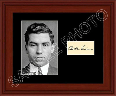 Lucky Luciano Matted Photo Display 8X10 Autograph Mobster Boss New York Mafia