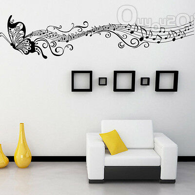 Music Butterfly Wall Sticker Art Decor Living Room Vinyl Removable Home Decals