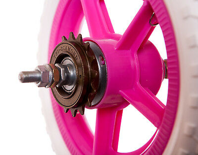 """KIDS Childrens 10"""" REAR PLASTIC Bike Bicycle WHEEL IN BRIGHT PINK AND WHITE New"""