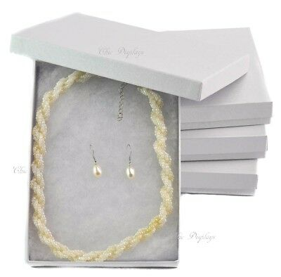 LOT OF 4 WHITE COTTON FILLED BOXES JEWELRY BOX NECKLACE SET BOX  LARGE WHITE BOX