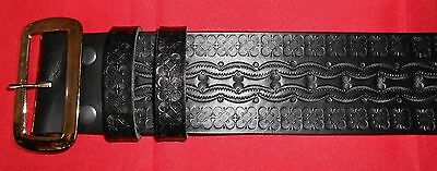 Tooled Santa Claus Belt and Buckle, Solid Leather, High Quality, Many Sizes