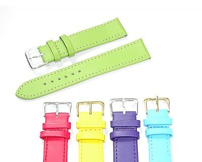 Pastel Coloured Men's Ladies High Quality Soft Leather Watch Band Strap 6mm-22mm