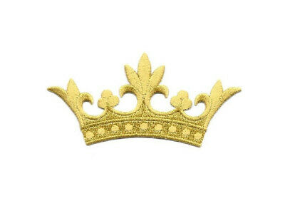 Crown W/5 Leaf Points - Embroidered Gold Rayon Iron On Applique Patch - 4W