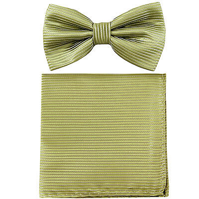 New Men/'s micro fiber Pre-tied Bow tie /& hankie blue sage green checkers formal