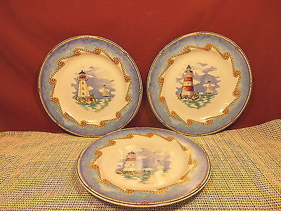 Fitz & Floyd China Shore Lights Pattern Set of 3 Salad Plates 8 1/4""