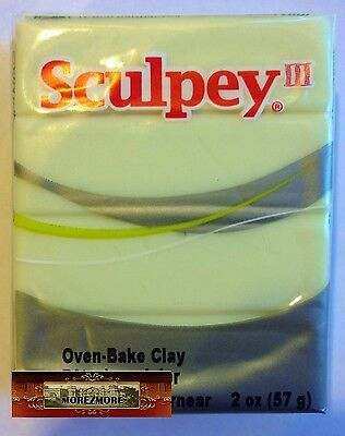 M00420 MOREZMORE Sculpey III GLOW IN THE DARK 2 oz Polymer Clay T20A