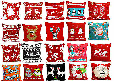 "New Design Christmas Tree Santa Claus Reindeer 100% Cotton Cushion Cover 18""x18"""