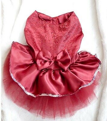 Puppy  Girl Princess Dogs Cat Pet Clothes dress weding  with diamom Size S Red