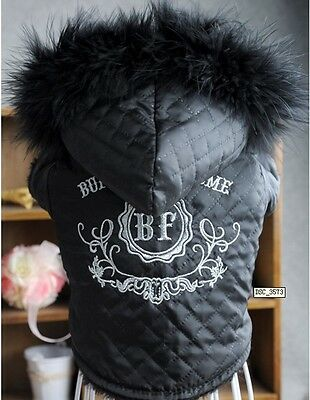 Wear Both sides Pet Dog Hoodies Sweater T-Shirt Warm Coat Clothes SIZE S Black