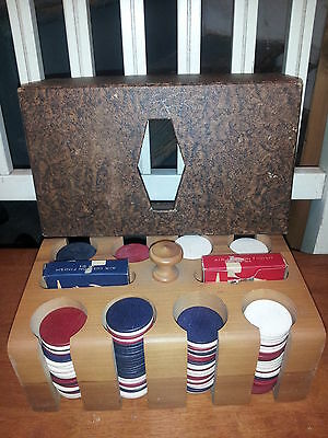 Poker Chips - Wooden Caddy w/ 2 Decks of Aviator Cards 1950's