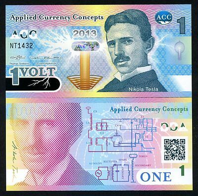 ACC, 1 Volt, 2013, Promotional / Advertising Polymer Note, UNC Nikola Tesla