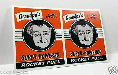 "Pair of 3.5"" GRANDPA'S ROCKET FUEL Vintage Style DECAL, Sticker, rat rod, racing"