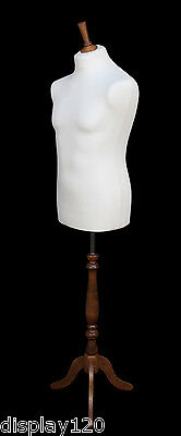 DELUXE MALE Tailors Dummy Sewing Display Mannequin Torso WHITE Bust ROSE Stand