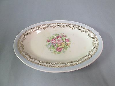 """Edwin M. Knowles China Co. Small 8 1/4"""" Oval Platter, Butter Dish, Floral"""