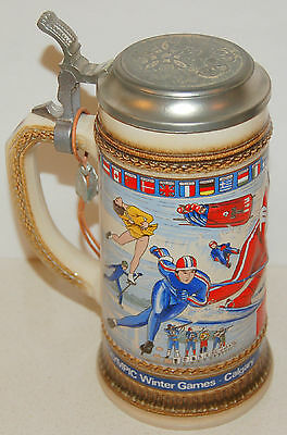 1988 Calgary Winter Olympic Games Classic AB Beer Stein Made in Germany by GERZ
