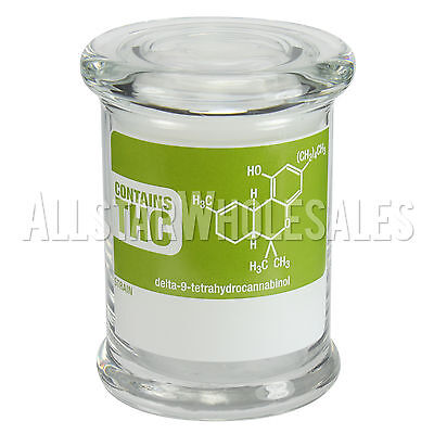 420 Science Contains THC Medium Pop Top Storage Jar w/ Lid Holds 10g 7 fl oz