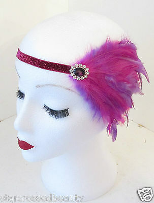 Fuchsia Hot Pink & Purple Feather Headpiece Headband Vintage 1920s Flapper k90