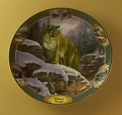 Monarchs of the Wild WINTER'S WATCH Plate Eagle Bison Cougar Deer Wolf #4 COA
